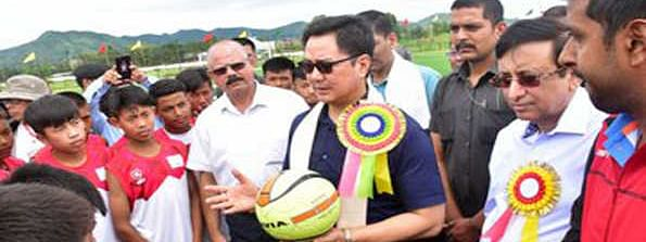 Rijiju inaugurates Synthetic Football Turf, assures biggest contingent in Tokyo Olympics