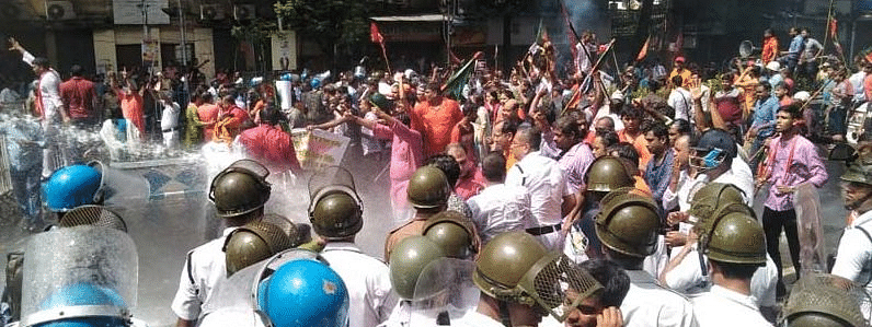 Violence erupts during BJP youth wing's protest against power tariff hike