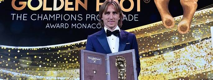 Croatian footballer Modric receives Golden Foot Award