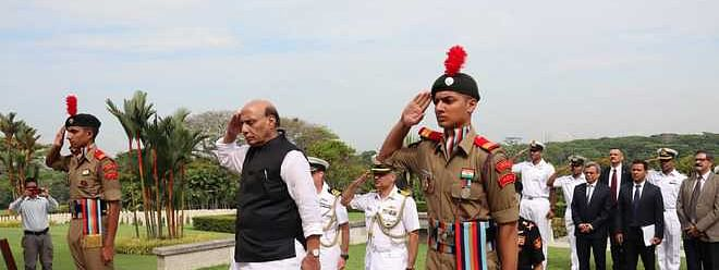 Rajnath pays tributes to martyrs at Kranji war memorial in Singapore