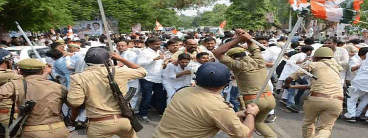 Congress workers injured in police lathi charge