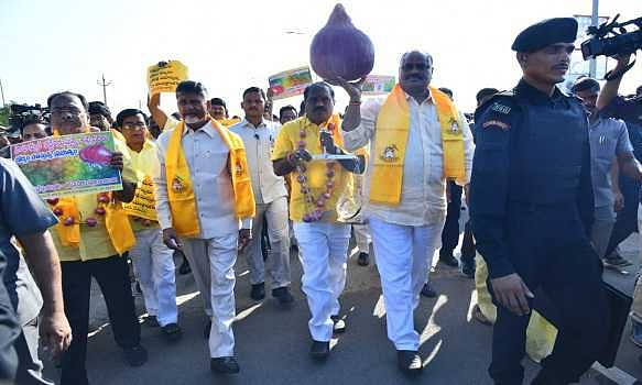 TDP MLAs take out rally at Assembly protesting hike of onion price