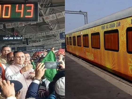 Amid protest against privatisation, Guj CM flags off Tejas Express