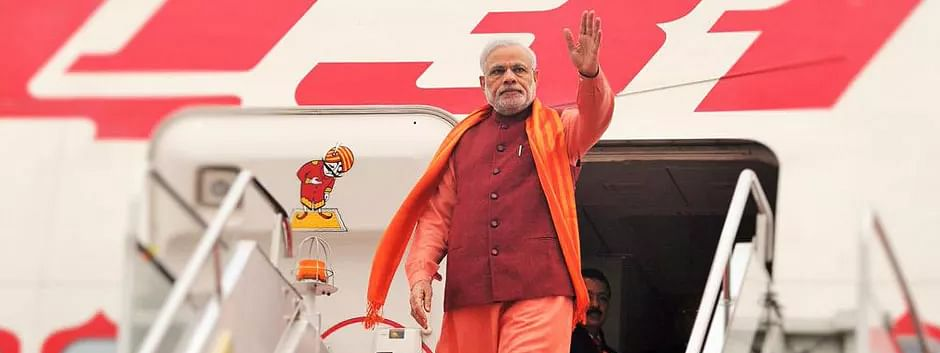 PM Modi lands at Kolkata airport