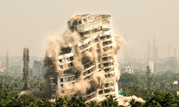 Controlled implosion of a multi-stories residential flat in Maradu