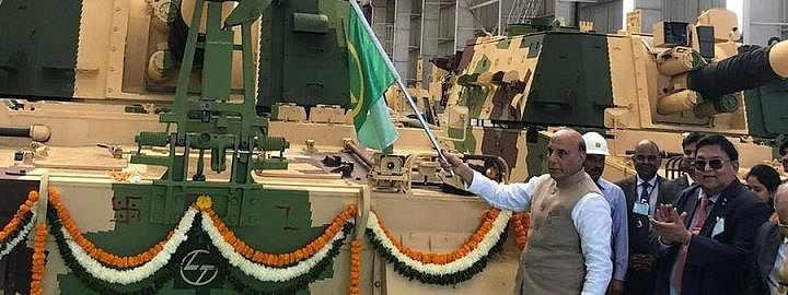 Make in India: Rajnath flags off 51st K9 VAJRA-T Gun from L&T armoured system complex