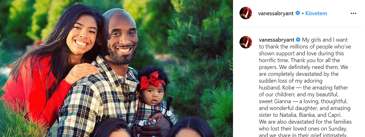 Kobe's wife issues first statement after tragedy