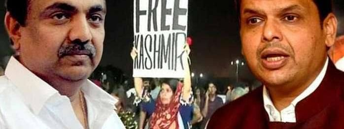 Fadnavis joins issue with NCP Minister on 'Free Kashmir' placard