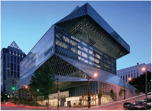 Seattle Central Library, Washington, USA. The Seattle Public Library's Central Library is the flagship library of The Seattle Public Library system. The 11-story glass and steel building in downtown Seattle, Washington was opened to the public on Sunday, May 23, 2004. The 11-story Central Library has a capacity for over 1.5 million books, in comparison to only 900,000 in the old library building.