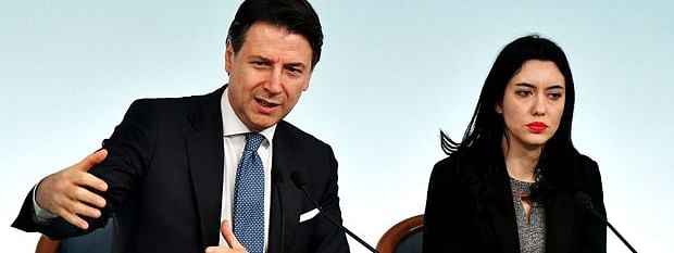 Italian Prime Minister Giuseppe Conte and the Education Minister Lucia Azzolina in a press meet