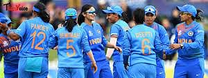 Jubilant Indian team after entering the maiden ICC Women T20 World Cup final