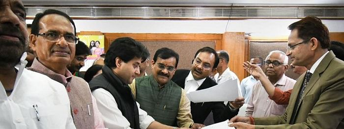 Jyotiraditya files nomination for RS in MP