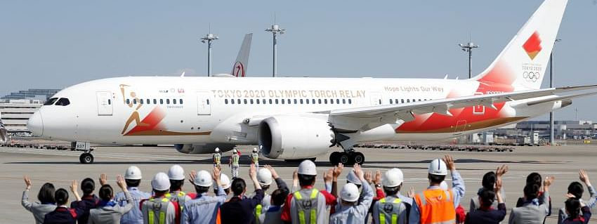 Special flight departs from Tokyo for Greece to transport Olympics flame