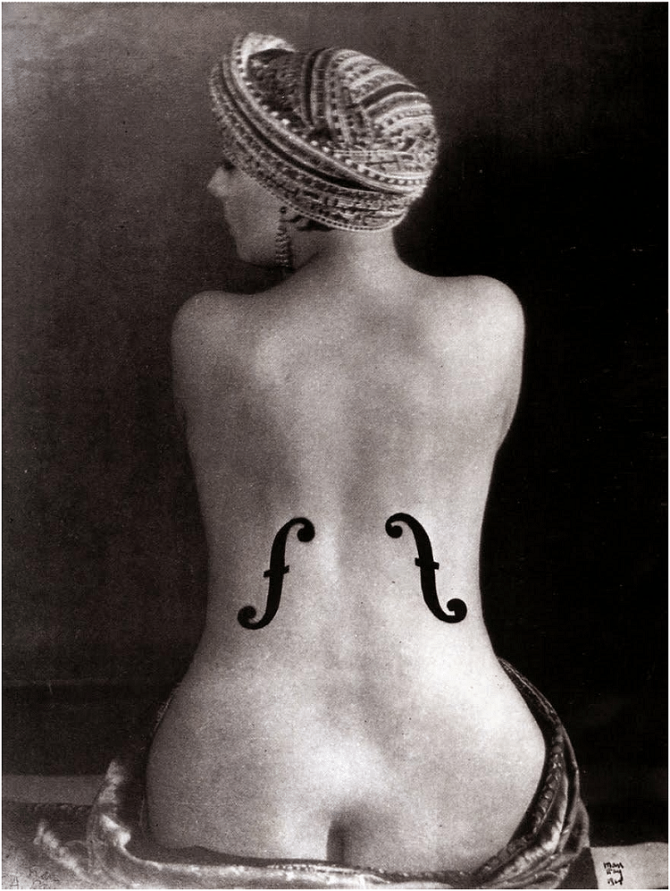 Ingres's Violin – Ray produced this photograph by painting the f-holes (often found in stringed instruments) onto the photographic print and then re-photographing the print. It communicates the tension between objectification and appreciation of the female form.