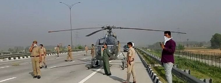Cheetah chopper makes emergency landing on outer ring road highway