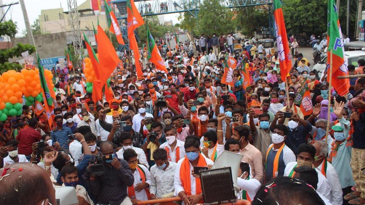 তেলেঙ্গানা: কোভিড বিধি উড়িয়ে নির্বাচনী প্রচারে BJP, TRS