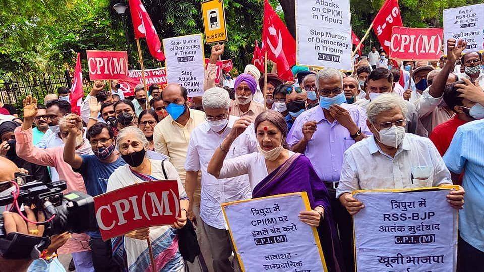 ত্রিপুরায় দলের ওপর BJP-র আক্রমণের প্রতিবাদে যন্তর-মন্তরে অবস্থান বিক্ষোভে CPIM