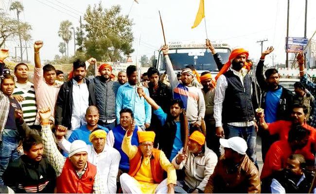 PADMAVATI PROTEST : बिहार में राजपूत संगठनों का विरोध प्रदर्शन, ''जय भवानी'' के नारे भी लगाये, देखें वीडियो
