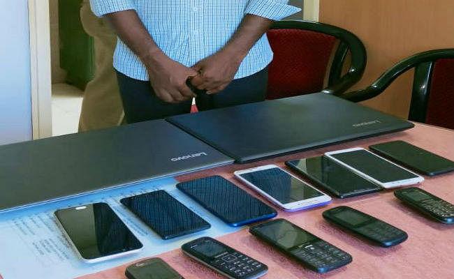 चोरी के मोबाइल व लैपटाॅप का खरीदार गिरफ्तार