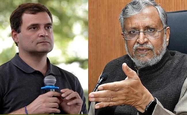 """कांग्रेस पर सुशील मोदी का वार, कहा- अपने वास्तविक नाम से चुनाव लड़ कर देख लें राहुल खान """"गांधी"""""""