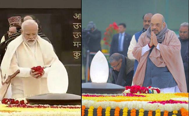 प्रधानमंत्री-गृहमंत्री-रक्षामंत्री  ने अटल बिहारी वाजपेयी और पंडित मदन मोहन मालवीय को श्रद्धांजलि अर्पित की