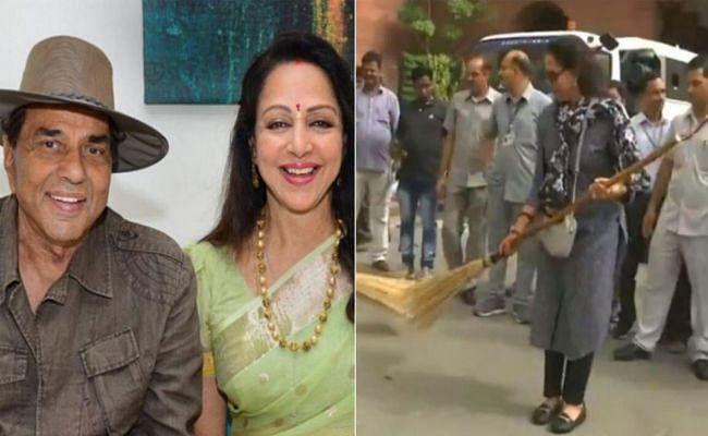 संसद में झाड़ू लगाती हेमा मालिनी के वायरल वीडियो पर धर्मेंद्र ने कहा- वो अनाड़ी, लेकिन मैं खिलाड़ी