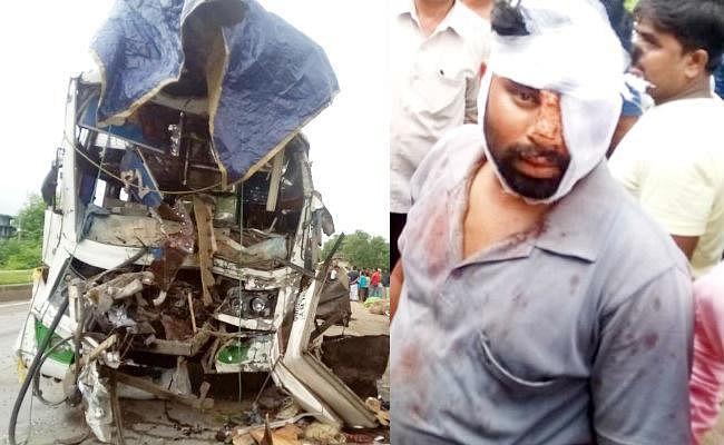 रांची से बिहिया जा रही बस दुर्घटनाग्रस्त,खलासी की मौत, बिहार और झारखंड के सात यात्री घायल