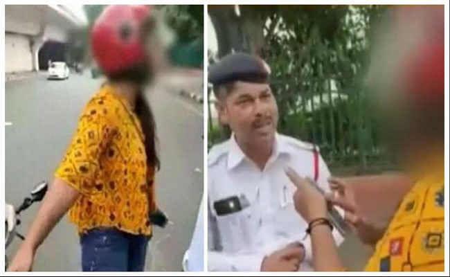 दिल्लीः नियम के उल्लंघन पर ट्रैफिक पुलिस ने रोका तो लड़की ने कहा- चालान कटा तो दे दूंगी जान