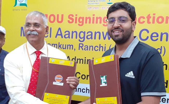 RANCHI : इंडियन ऑयल की मदद से नामकुम के 40 आंगनबाड़ी केंद्र बनेंगे माॅडल आंगनबाड़ी केंद्र