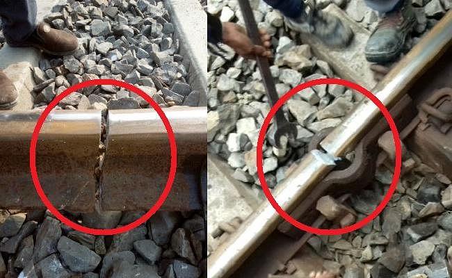 रेलवे ट्रैक टूटने से रेल सेवा बाधित, ट्रेन खड़ी रहने पर यात्रियों ने किया हंगामा