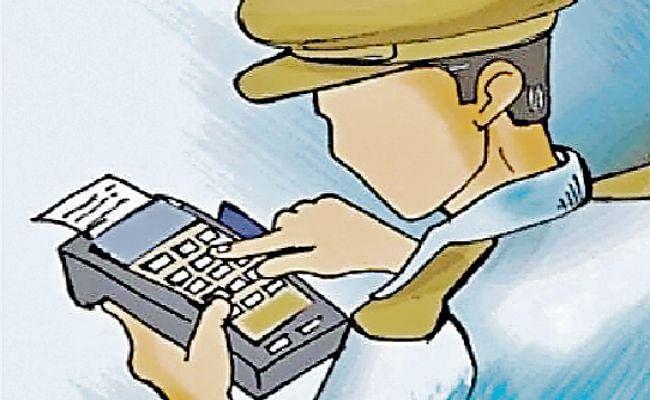 यातायात पुलिस ने पहली बार काटा इ-चालान, वसूले 18 हजार रुपये जुर्माना