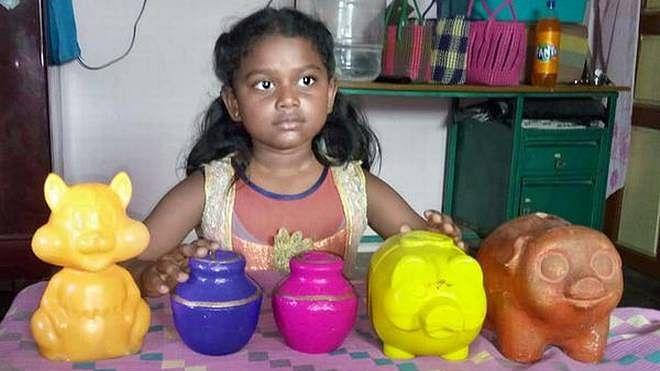 ننھی انوپریا نے کی 4 سال کی جمع پونجی کیرالہ سیلاب کے نام