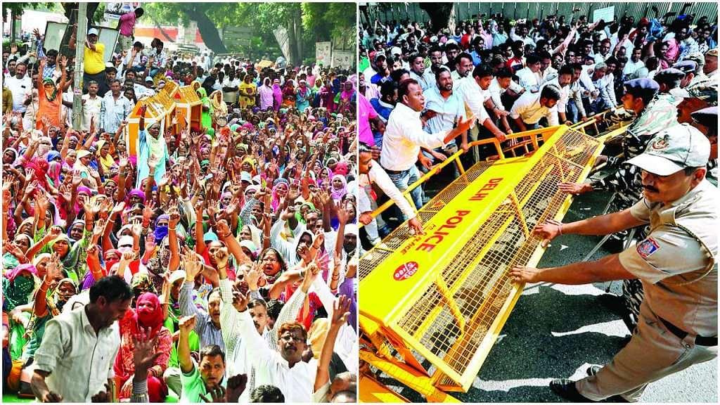 دہلی: صفائی ملازمین پر پولس لاٹھی چارج، مظاہرہ میں شامل 43 ملازمین معطل