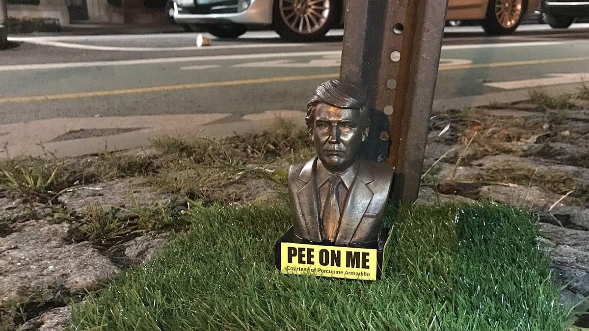 نیو یارک کے فٹ پاتھ پر نصب کی گئی ٹرمپ کی مورتی، نیچے لکھا 'مجھ پر پیشاب کرو'