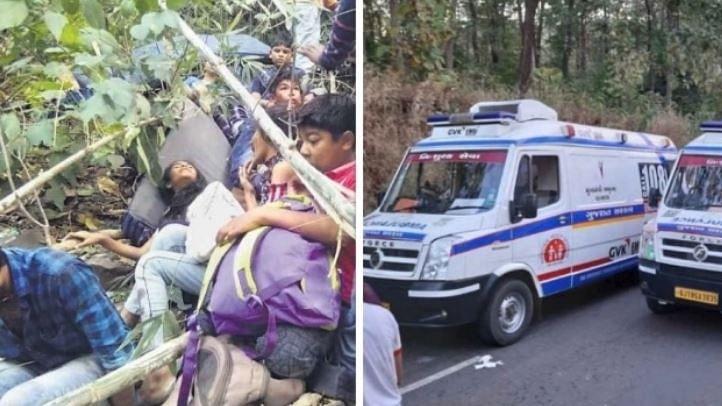 گجرات: سورت میں 200 فٹ گہری کھائی میں گری اسکول بس، 10 بچوں کی موت