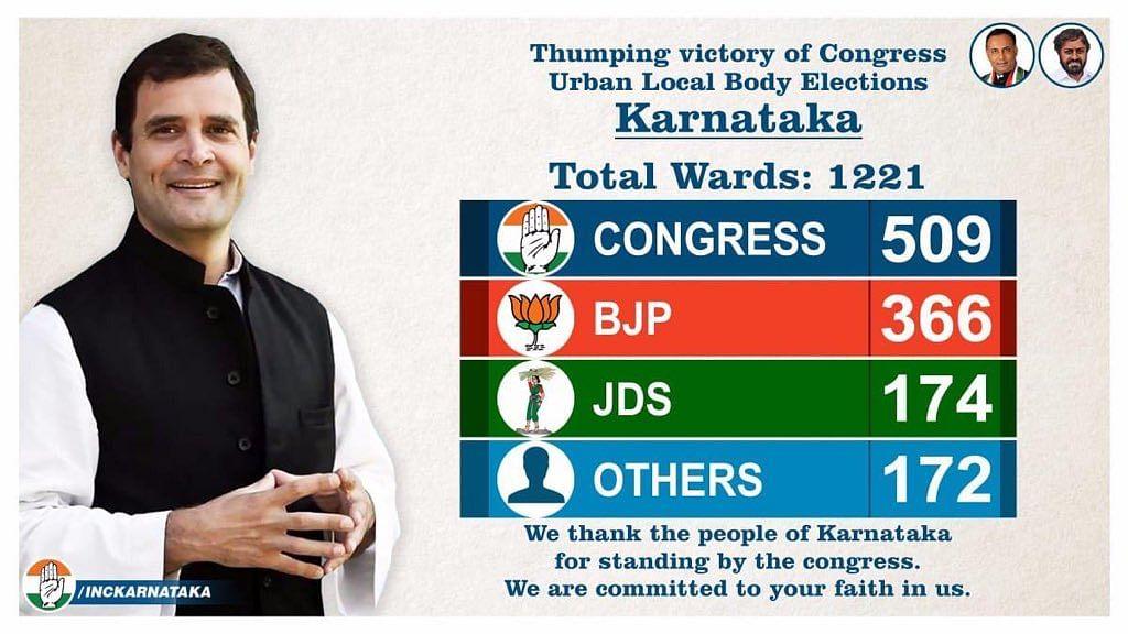کرناٹک میونسپل الیکشن میں لہرایا کانگریس کا پرچم، لوک سبھا نتائج پر اٹھے سوال