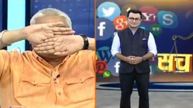 چینل ڈیبیٹ کے بعد مسلم اینکر کو دیکھ پنڈت گوتم نے اپنی آنکھیں کی بند، وِیڈیو وائرل