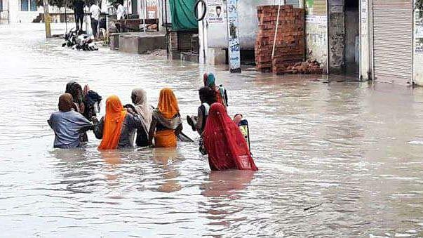 راجستھان کے کئی اضلاع میں بھاری بارش کے سبب سیلاب جیسے حالات