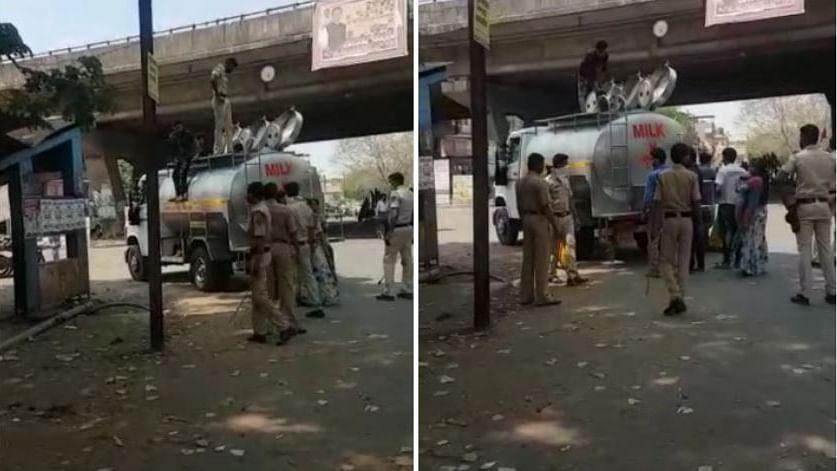 لاک ڈاؤن: دودھ کے ٹینکر میں چھپ کر گاؤں جا رہے مزدور پولس حراست میں