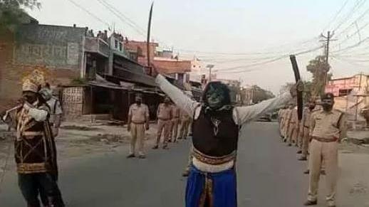 ایودھیا میں کورونا وائرس کو شکست دینے سڑک پر نکلے 'یمراج'، تصویر وائرل