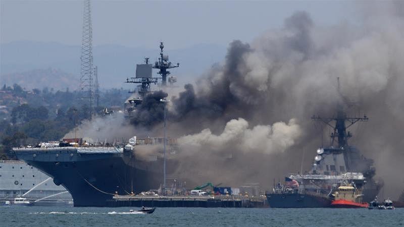 امریکی بحریہ کے سین ڈیاگو بیس پرآتشزدگی،21 افراد زخمی