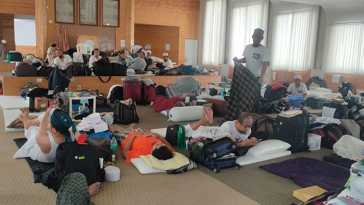 آئی ٹی او واقع جمعیة علماء ہند کے دفتر میں قیام  پذیرغیر ملکی جماعتی اراکین۔ تصویر نواب علی اختر