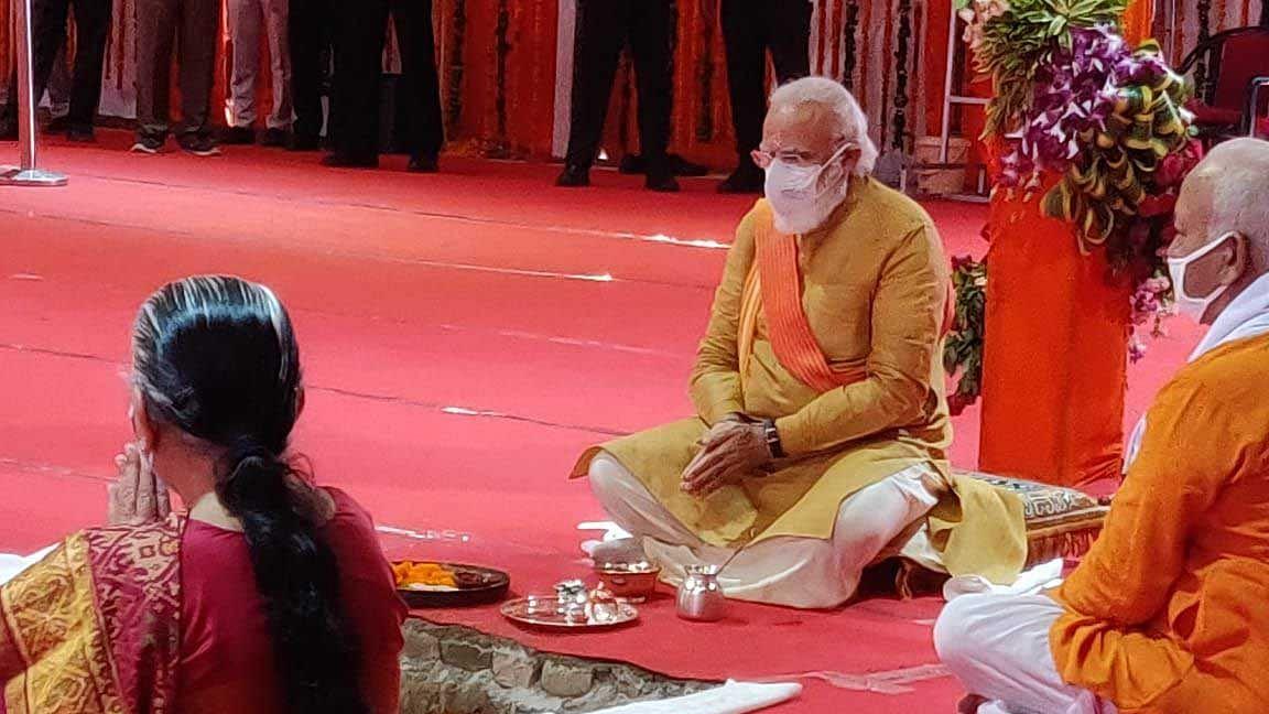 ایودھیا: وزیر اعظم نریندر مودی نے رام مندر کا سنگ بنیاد رکھا