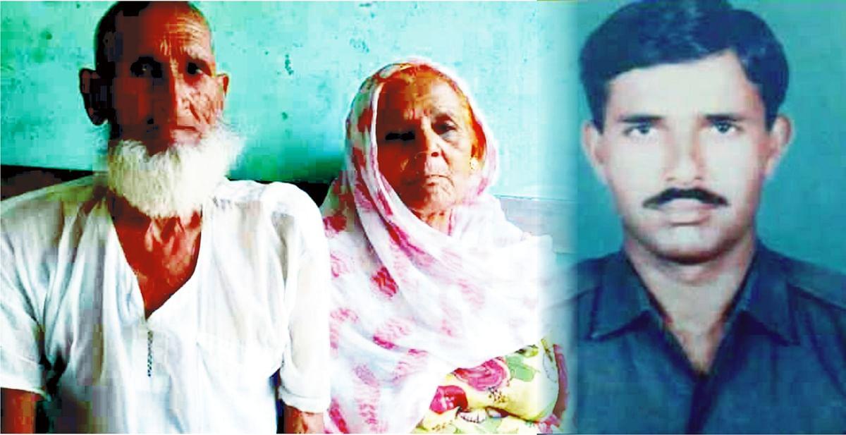 شہید عابد خان (دائیں)، والد غفار خان اور والدہ نتھن بیگم، تصویر نواب علی اختر