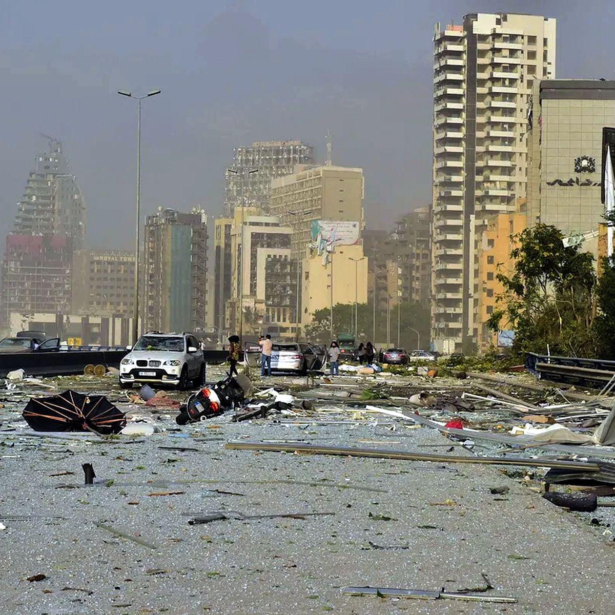 بیروت میں ہونے والے زبردست دھماکہ کی تباہ کاری کا منظر/ تصویر یو این آئی