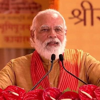 ایودھیا میں بھومی پوجن کرنے کے بعد خطاب کرتے وزیر اعظم نریندر مودی / تصویر ٹوئٹر @PIBHindi