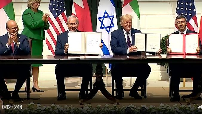 ٹرمپ کی موجودگی میں یو اے ای اور بحرین نے اسرائیل کے ساتھ معاہدوں پر دستخط کئے