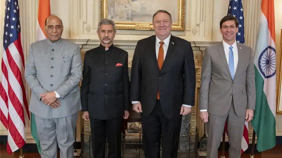 امریکی وزیر خارجہ اور وزیر دفاع 'ٹو پلس ٹو' ڈائیلاگ کے لیے دہلی پہنچے
