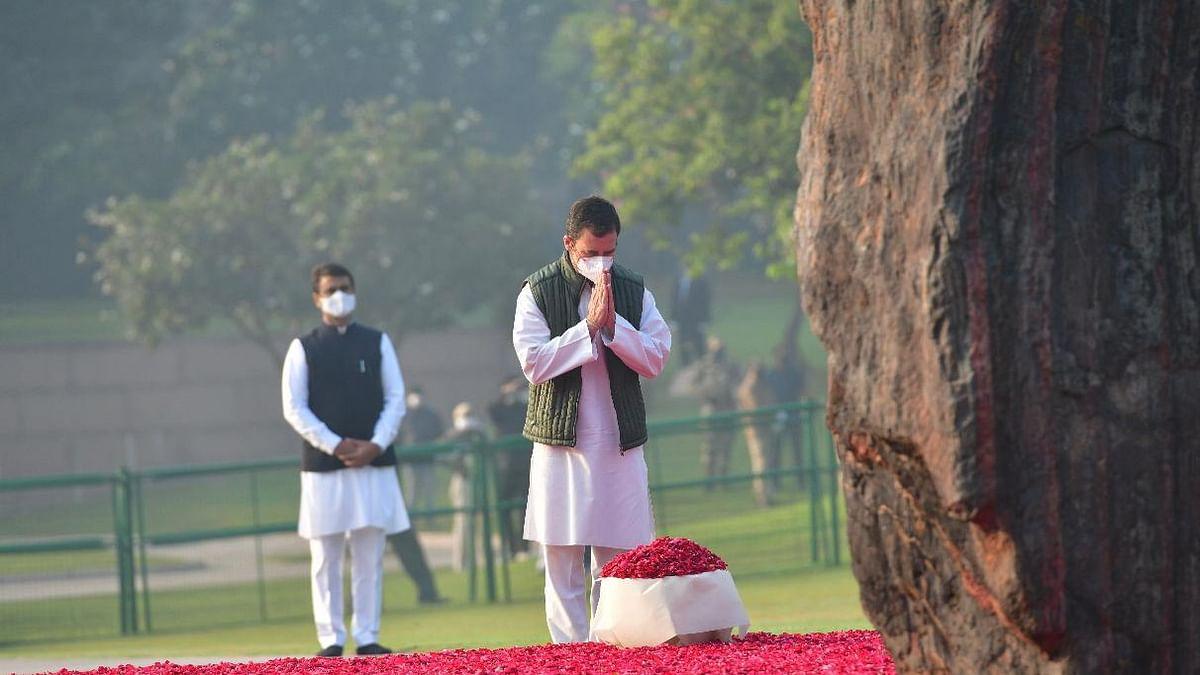 اندرا گاندھی کے یوم پیدائش پر 'شکتی استھل' پہنچ کر راہل گاندھی نے پیش کیا خراج عقیدت