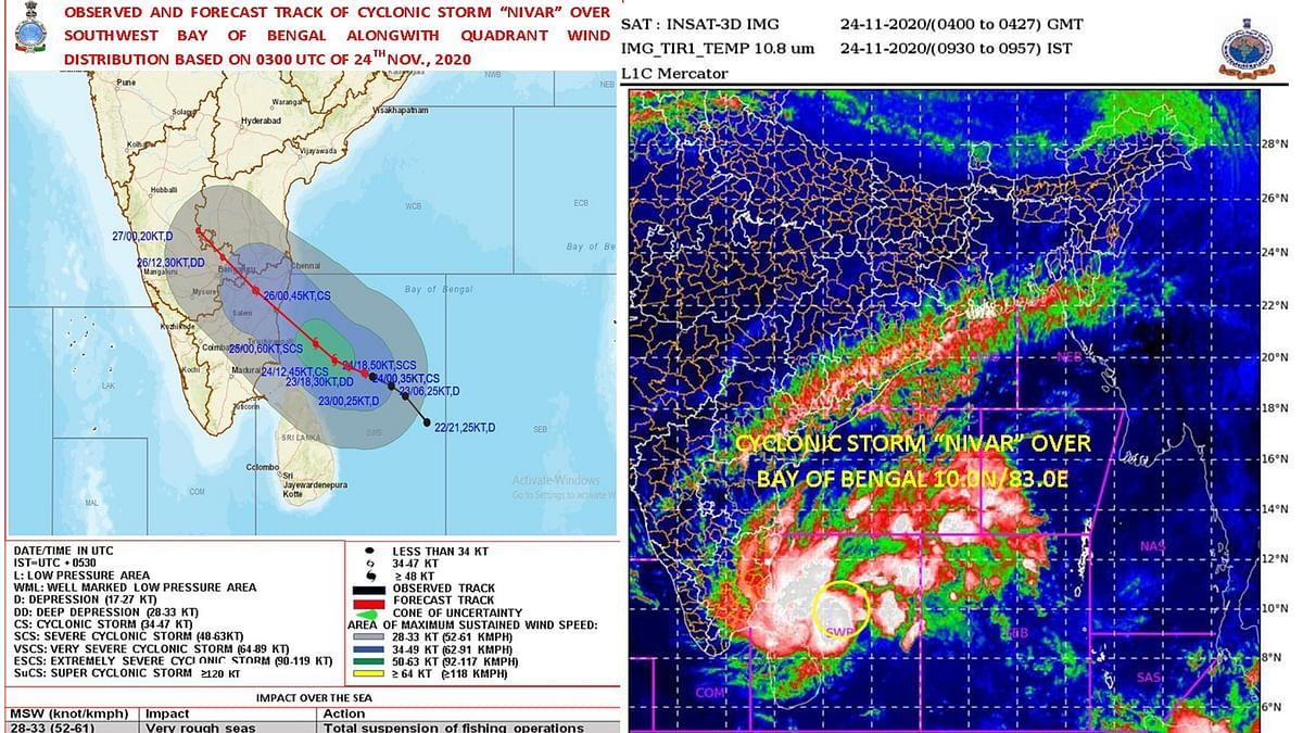 جنوبی ہندوستان پر سمندری طوفان 'نیوار' کا خطرہ، آندھرا-تمل ناڈو میں بارش، پڈوچیری میں رات کا کرفیو